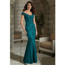 Sexy V Neck Cap Sleeve Teal Lace Mother Of The Bride Evening Dress