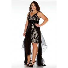 Sexy V Neck High Low Black Lace Sequins Chiffon Plus Size Prom Dress