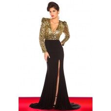 Sexy V Neck Long Sleeve Gold Sequin Black Chiffon Evening Prom Dress Open Back