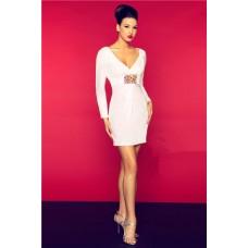 Sexy V Neck Open Back Long Sleeve Short Mini White Chiffon Beaded Party Prom Dress