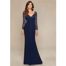 Sexy V Neck Open Back Navy Blue Jersey Lace Sleeve Mother Of The Bride Evening Dress
