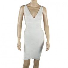 Sexy V Neck Short Mini White Bandage Bodycon Evening Party Dress