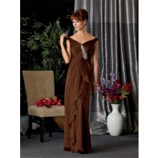 Sexy V neck off the shoulder long brown chiffon mother of the bride dress