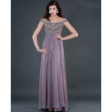 Sexy empire off shoulder long lilac beading chiffon evening dress