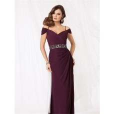 Sexy off shoulder floor length purple chiffon mother of the bride dress
