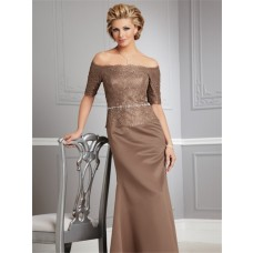 Sexy off the shoulder floor length brown lace mother of the bride dress