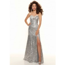 Sexy sweetheart floor length silver sequined prom dress with slit