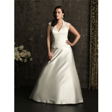 Sexy v neck backless court train lace plus size wedding dress with beading and buttons