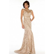 Sheath Bateau Neck Cap Sleeve See Through Long Champagne Lace Occasion Evening Dress