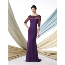 Sheath Bateau Neckline Sheer Sleeve Purple Chiffon Mother Of The Bride Evening Dress