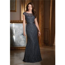 Sheath Bateau Neckline V Back Cap Sleeve Black Lace Beaded Formal Occasion Evening Dress