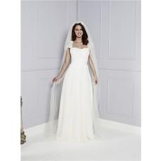 Sheath Cap Sleeve Keyhole Open Back Chiffon Lace Destination Beach Wedding Dress