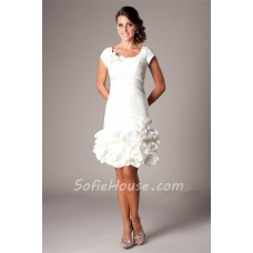 Sheath Cap Sleeve Short White Taffeta Rouched Party Prom Dress With Flowers