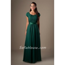 Sheath Cap Sleeved Dark Green Chiffon Ruched Modest Long Bridesmaid Dress With Sash