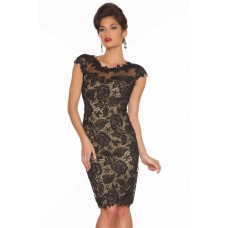 Sheath Column Cap Sleeve Open Back Short Black Lace Beaded Prom Dress