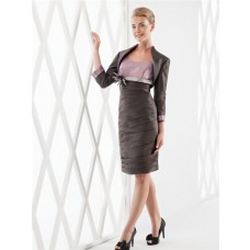 Sheath Column Scoop Neckline Two Tone Taffeta Ruched Short Sleeve Evening Dress Bolero Jacket