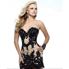 Sheath Column Sweetheart Short Mini Champagne Chiffon Black Lace Cocktail Prom Dress