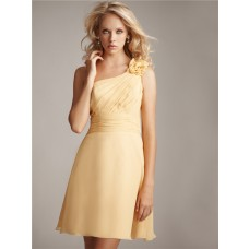 Sheath/Column asymmetrical one shoulder short pale yellow chiffon bridesmaid dress