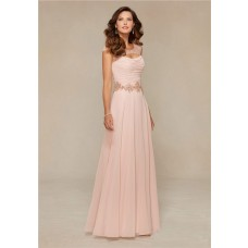 Sheath Front Cut Out Long Blush Pink Chiffon Beaded Mother Of The Bride Evening Dress