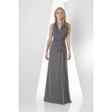 Sheath Halter Open Back Long Charcoal Grey Chiffon Draped Occasion Bridesmaid Dress Sash Bow