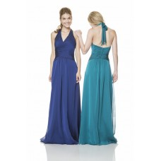 Sheath Halter Open Back Long Royal Blue Chiffon Wedding Guest Bridesmaid Dress