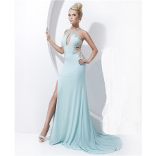 Sheath High Neck Cut Out Sheer Back Long Baby Blue Chiffon Beading Prom Dress Slit