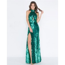 Sheath High Neck Halter Front Keyhole Emerald Green Sequin Evening Prom Dress With Slit