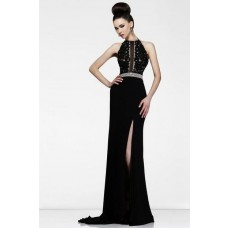 Sheath High Neck Long Black Chiffon Lace Formal Evening Prom Dress With Slit Belt