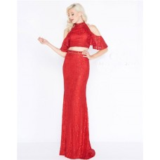 Sheath High Neck Long Red Lace Two Piece Evening Prom Dress With Ruffles