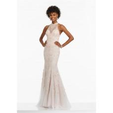 Sheath High Neck Open Back Long Ivory Tulle Beaded Prom Dress
