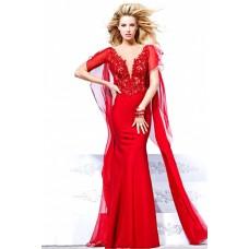 Sheath Illusion Neckline Sheer Back Cap Sleeve Red Chiffon Prom Dress