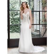 Sheath Keyhole Open Back Chiffon Beaded Crystal Wedding Dress Sheer Straps
