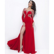 Sheath Long Sleeve Backless Slit Red Chiffon Beaded Evening Prom Dress Open Back