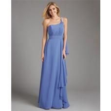 Sheath One Shoulder Long Blue Chiffon Ruched Wedding Guest Bridesmaid Dress