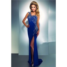 Sheath One Shoulder Long Royal Blue Chiffon Beaded Sequin Prom Dress With Slit