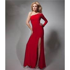 Sheath One Shoulder Sheer Back Long Sleeve Red Chiffon Prom Dress With Slit