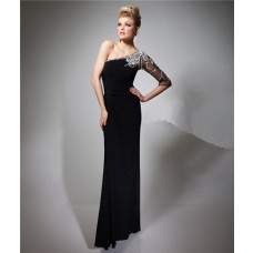 Sheath One Shoulder Sheer Sleeve Long Black Chiffon Beaded Evening Prom Dress