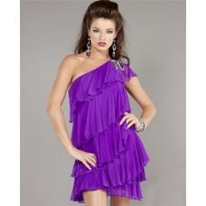 Sheath One Shoulder Short Mini Purple Chiffon Tiered Cocktail Party Dress