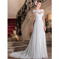 Sheath Scalloped Neckline Cap Sleeve Lace Chiffon Wedding Dress With Belt