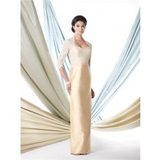 Sheath Scalloped Neckline Gold Taffeta Lace Beaded Mother Of The Bride Evening Dress With Sleeve