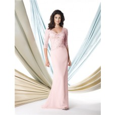 Sheath Scalloped Neckline Pink Chiffon Lace Sleeve Mother Of The Bride Evening Dress