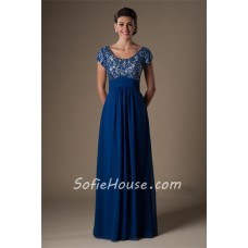 Sheath Scoop Neck Empire Waist Long Royal Blue Chiffon Beaded Evening Prom Dress