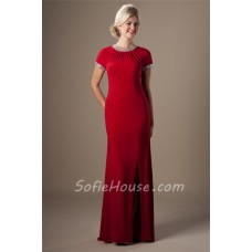 Sheath Scoop Neck Long Red Jersey Beaded Modest Evening Prom Dress With Sleeves