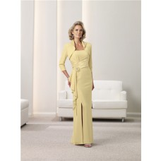 Sheath Side Slit Lemon Yellow Chiffon Mother Of The Bride Evening Dress With Bolero Jacket