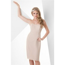 Sheath Strapless Knee Length Short Champagne Chiffon Wedding Party Bridesmaid Dress