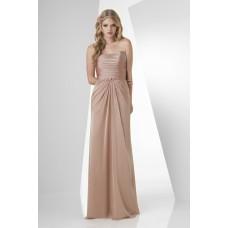 Sheath Strapless Long Champagne Chiffon Draped Formal Occasion Bridesmaid Dress