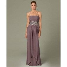 Sheath Strapless Long Dusty Rose Chiffon Draped Evening Dress With Beads