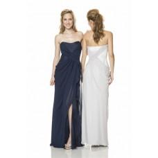 Sheath Strapless Long Navy Blue Chiffon Draped Wedding Guest Bridesmaid Dress With Slit