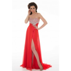 Sheath Strapless Long Red Chiffon Beaded Homecoming Prom Dress With Slit