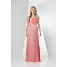 Sheath Strapless Long Tulip Satin Chiffon Ruched Wedding Party Bridesmaid Dress